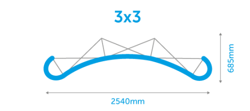 Dimensions for 3x3 pop-up display stand